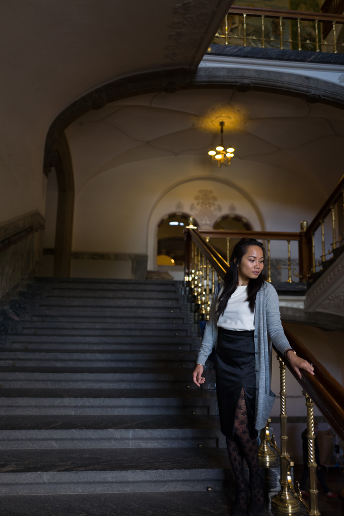 On a staircase inside Copenhagen city hall