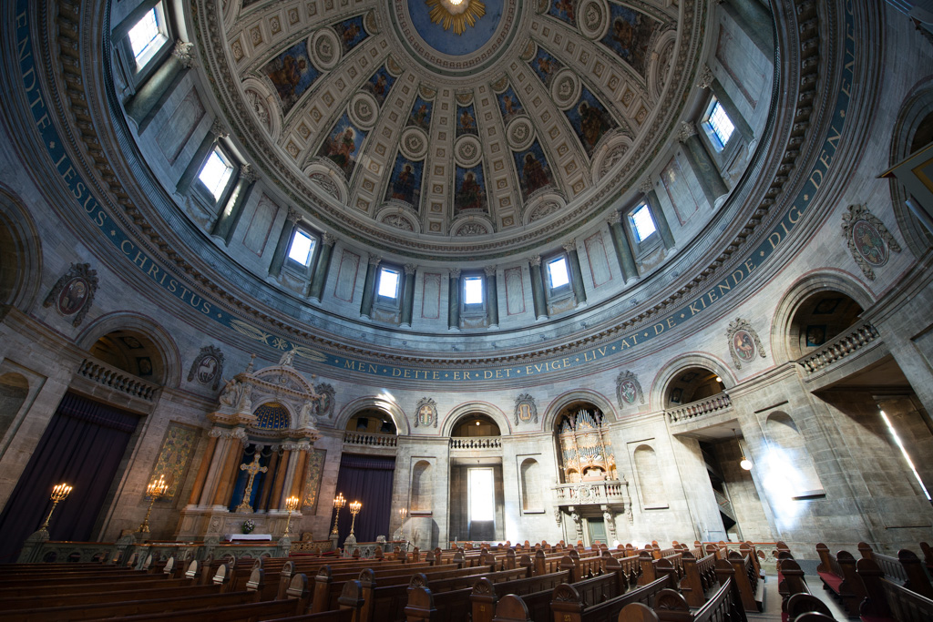 Inside Frederik's church, a breathtaking dome