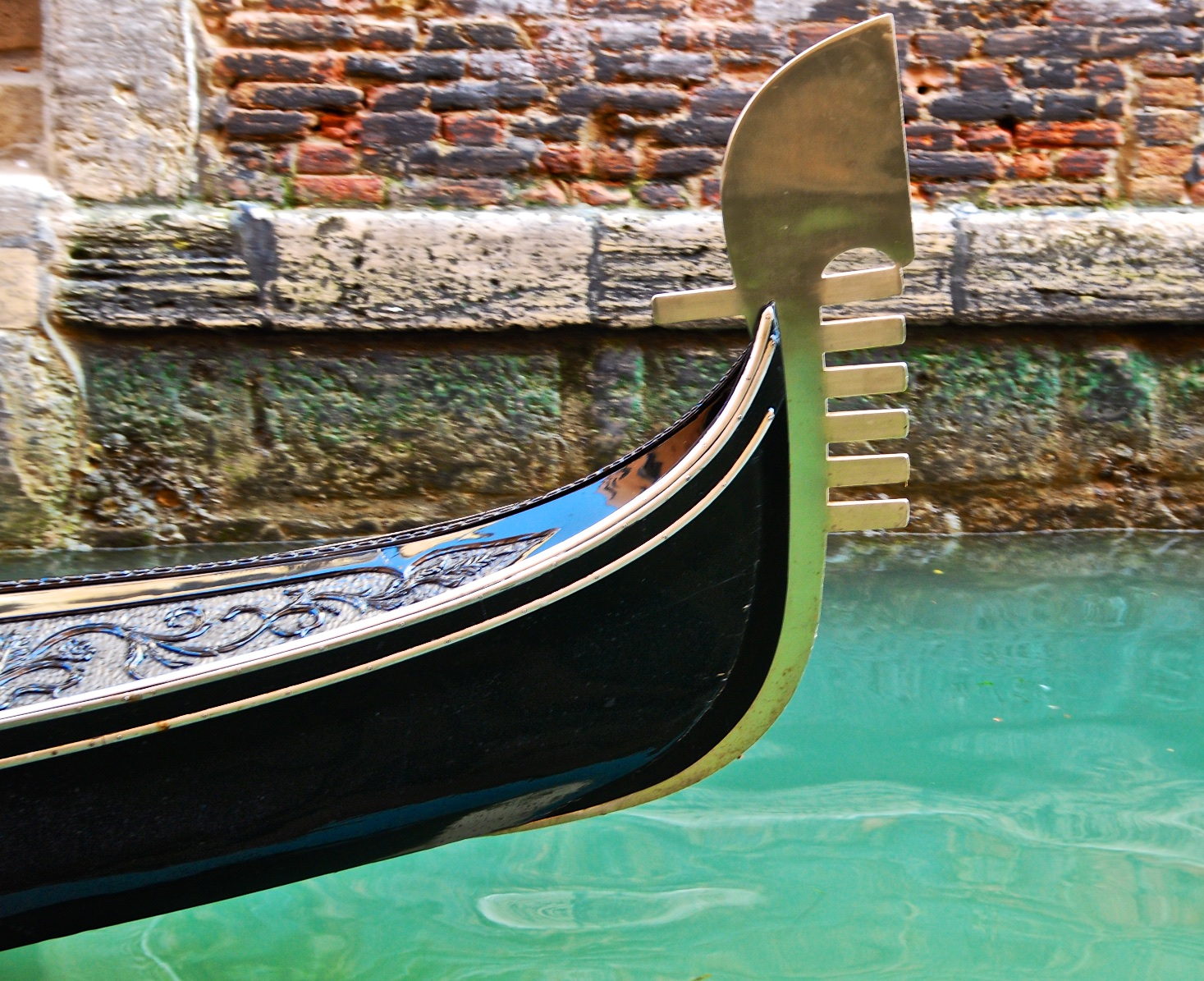 A gondola on a small channel in Venice