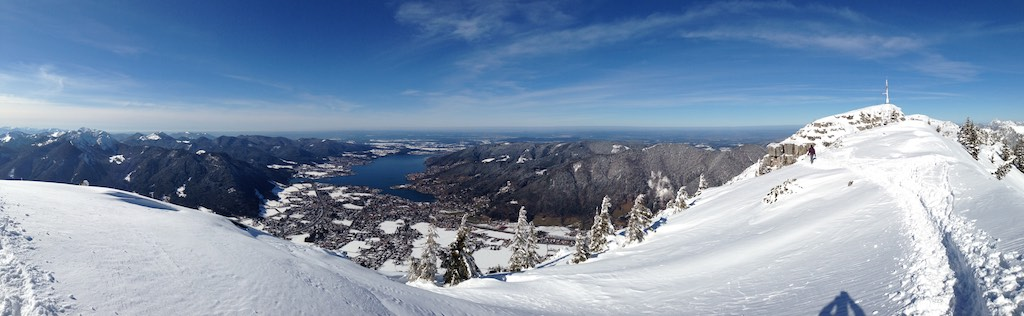 Panoramic view of Tegernsee from top of Wallberg